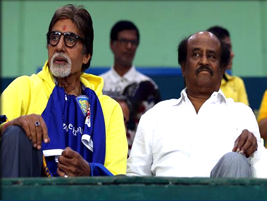 Rajinikanth-joins-Amitabh-Bachchan-to-cheer-for-football-in-India-YouTube